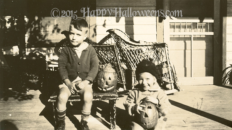 Brother and Sister With Pumpkins 1940s