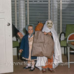 Ghost and bonnet pair and big Trick or Treat bag, 1960s