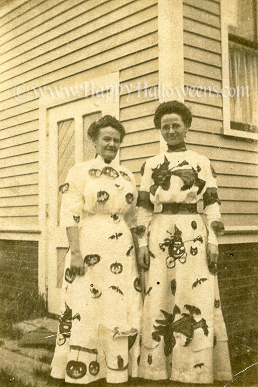 A pair of vintage custom made Halloween dresses circa 1920s